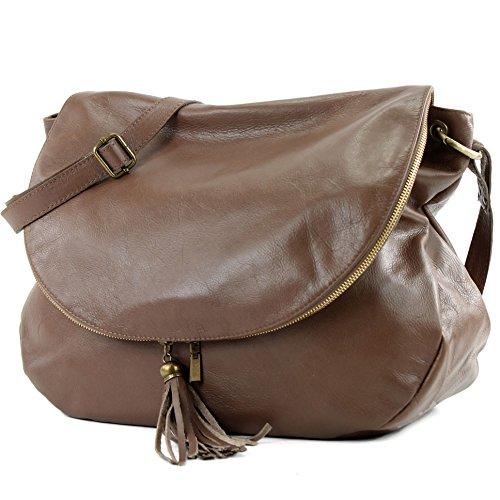 modamoda. de T40Bolso para mujer bolsa de hombro Messenger Bag (Piel de napa Bolso Mediano y Grande - - Blassbraun Large