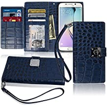 S6 Edge Wallet Case, Matt [ 8 Pockets ] 7 ID / Credit Card 1 Cash Slot, Power Magnetic Clip With Wrist Strap For Samsung Galaxy S6 Edge Leather Cover Flip Diary (Blue)
