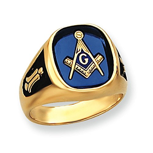 Men's 14K Yellow Gold Synthetic Blue Spinel Masonic Ring