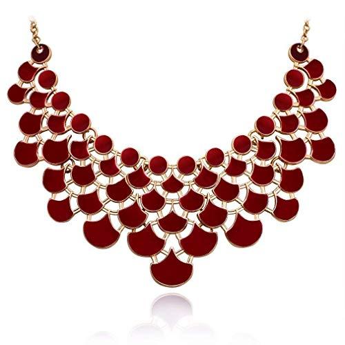 - JANE STONE 2018 Fashion Bib Collar Necklace Multicolor Enamel Openwork Statement Jewelry for Women