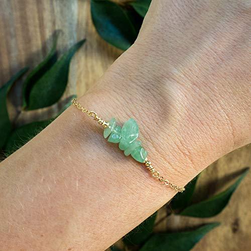 (Aventurine bead bar crystal bracelet in 14k gold fill - 6