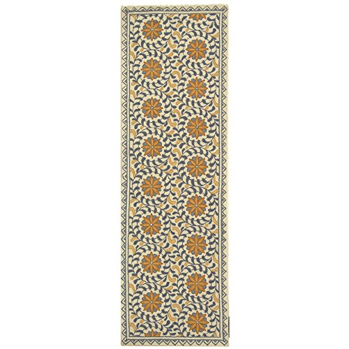 (Safavieh Chelsea Collection HK150A Hand-Hooked Ivory and Blue Premium Wool Runner (2'6