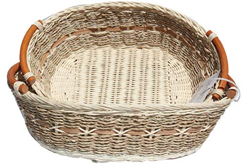 ShopOnNet RT450190-2 Handwoven Oval Wicker Storage Basket Curve Pole Handle in Cream and Brown (Set of 2)