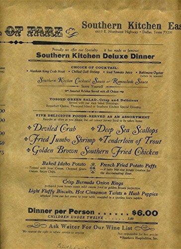 (Southern Kitchen Parchment Scroll Dinner Menu Dallas Texas 1971)