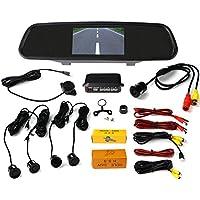 VMATE Car Reversing kit- 4.3 Inch TFT LCD Rearview Mirror Monitor, Backup Camera, 4 Parking Sensors Alarm