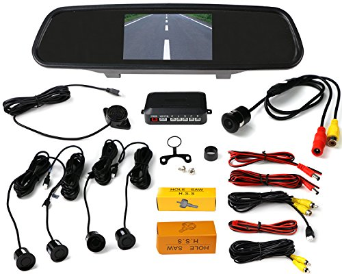 VMATE Car Reversing kit- 4.3 Inch TFT LCD Rearview Mirror Monitor, Backup Camera, 4 Parking Sensors Alarm