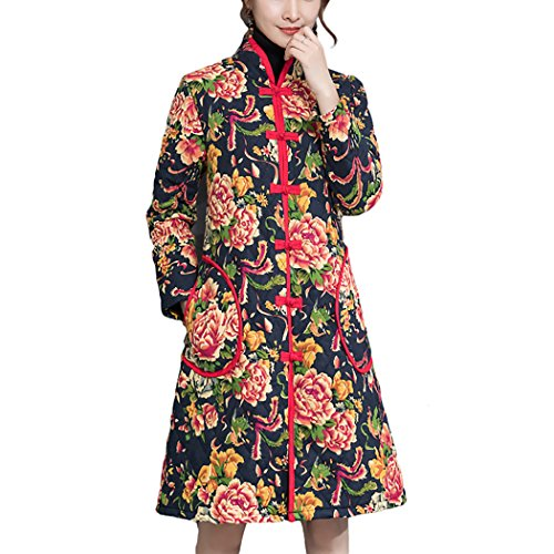 HÖTER Womens Spring Autumn Folk Style Printed Floral Vintage Cheongsam Plus Size Cotton Jacket(M-4XL)