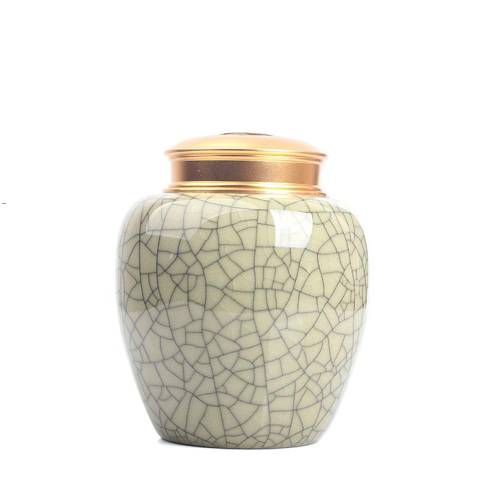 A Urns Adult Funeral Urn Ceramics Double Cover Seal Moisture Proof Handcrafted Cremation Urns for A Small Amount Human Or Pets Ashes Cinerary Casket