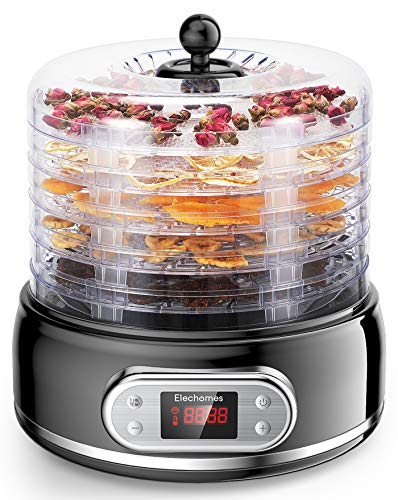 Elechomes 6 Trays Food Dehydrator for Beef Jerky,Fruit,Meat,Flowers,Herbs, 400W with Timer and Temperature Control, Fruit Roll Sheets Included, Overheat Protection, BPA Free
