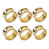 Frjjthchy 6 Pcs Stainless Steel Bead Side Napkin Rings Delicate Serviette Buckles (Gold)