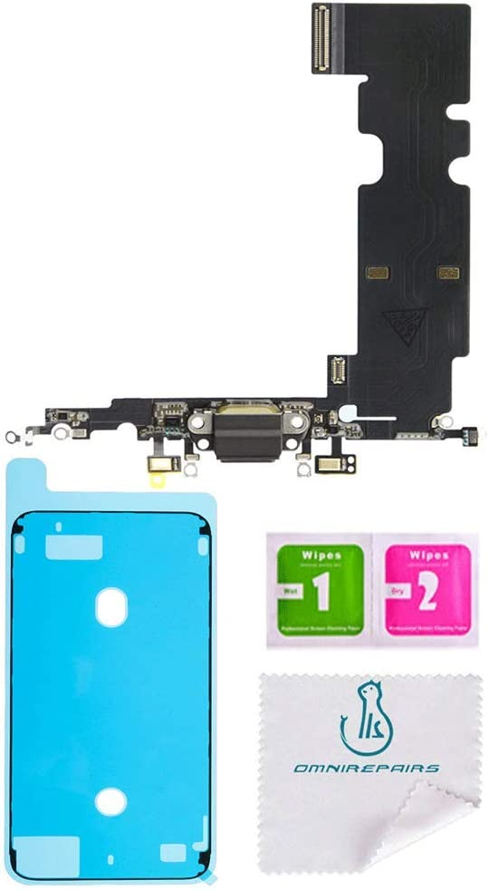 OmniRepairs Charging USB Dock Port Flex Cable Replacement with Microphone Compatible for iPhone 8 Plus Model (A1864, A1897, A1898) with Adhesive (Black/Space Grey)