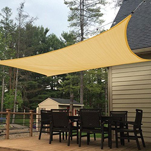 Shade&Beyond 8' x 12' Sand Color Rectangle Sun Shade Sail, UV Block for Outdoor Facility and (Pergola Deck Kit)