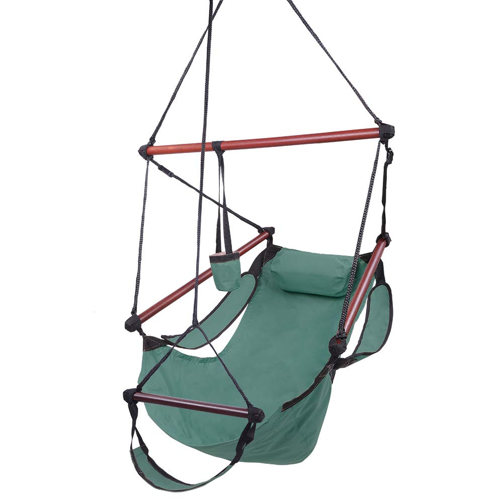 Yuehang Upgraded Unique Hammock Hanging Sky Chair, Air Deluxe Swing Seat with Rope Through The Bars Safer Relax with Fuller Pillow and Drink Holder Solid Wood Indoor Outdoor Patio Yard 330LBS Green