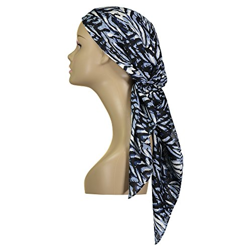 Atara Large Head Wrap Scarf -Soft Lightweight Easy Tie Square Chemo Scarves -by (Blue Print)