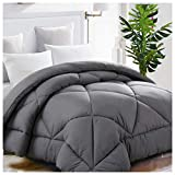 Twin Comforter Soft Quilted Down Alternative Duvet Insert with Corner Tabs Summer Cooling 2100 Series,Luxury Fluffy Reversible Hotel Collection,Hypoallergenic for All Season,Grey,64 x 88 inches