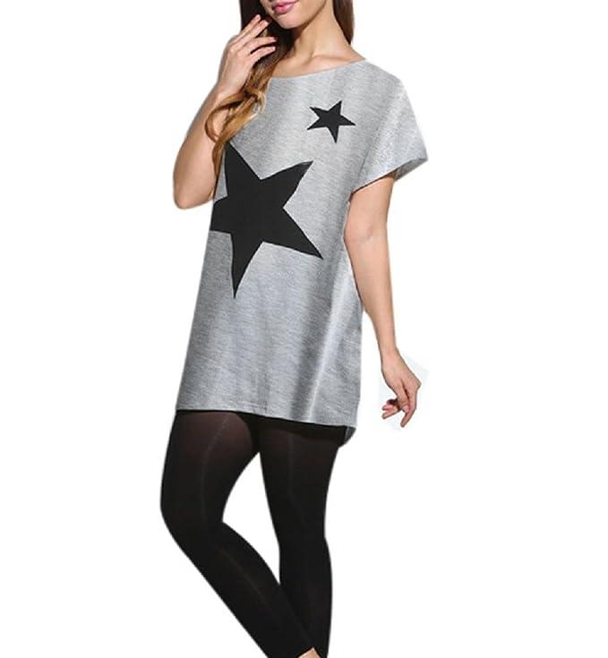 Blusa Verano Mujer 2017 Camisa Manga Murcielago Camiseta Estampada Estrella Cuello Redondo T-shirt Manga Corta - Lanodove (talla única, Blanco): Amazon.es: ...