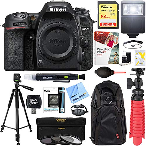 Nikon 1571 D7500 20.9MP DX-Format 4K Ultra HD Digital SLR Camera Body Bundle with 64GB Memory Card, Backpack, Flash, Cleaning Pen, Paintshop Pro 2018, 58mm Filter Kit and Accessories (10 Items)