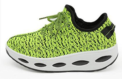 VECJUNIA Ladies Breathable Lace Up Low Top Platform Anti-Skid Fabric Sports Sneakers Green XspyT9n