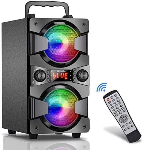 Bluetooth Speaker, 60W (80W Peak) Moveable Wi-fi Speaker with Lights, Double Subwoofer Heavy Bass, FM Radio, MP3 Participant, Microphone, Distant, Wealthy Stereo, Loud Speaker for Residence Outside Get together Tenting