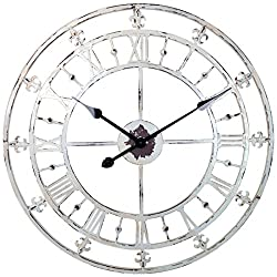 River City Clocks White Rustic Country Style Tower Clock with Fleur-De-Lis