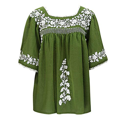 - Short Sleeve Tee Blouse for Women,Amiley Womens Floral Print Pleated Square Neck Short Sleeve T Shirts Tops Blouses (X-Large, Green)