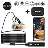 Wireless Endoscope, Wireless Borescope Inspection Camera 1200P HD IP68 Waterproof Semi-Rigid Cable for Android and IOS Smartphone, iPhone Samsung with Carrying Case (Black 16.5 Foot)
