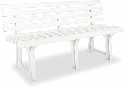 SHENGFENG Banco de Jardín Blanco, Plástico, Banco para Sentarse Banco Exterior 145, 5 x 49 x 74 cm: Amazon.es: Jardín