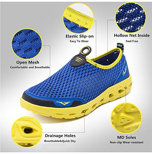 Les Respirante Chaussures Homme Mesh Chaussure bleu Séchage Femme Tous Aquatiques Yooeen Rapide Gris Sports Et Pour D'eau De Plage qf6x0C0nH