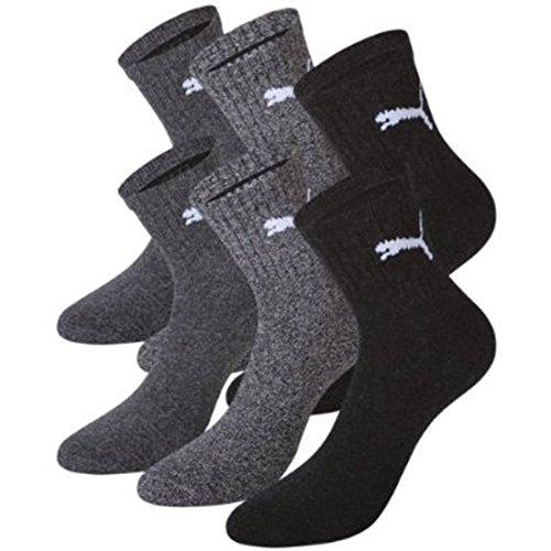 Puma Herren Kurze Sportsocken Socken mit Frotteesohle, 6 Stück, anthrazit/grau Größe: 43-46