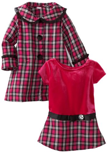 Youngland Baby Girls' Pink Plaid Coat Set