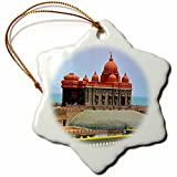 3dRose Cities Of The World - Kanyakumari Temple In India - 3 inch Snowflake Porcelain Ornament (orn_268676_1)