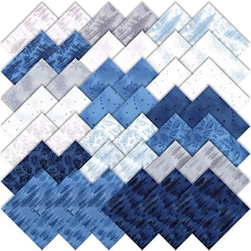 MODA 森フロストIiのグリッターチャームパッククラシック。 42-5` プレカットファブリックキルトの正方形