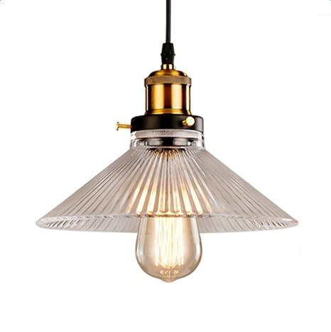 Glighone Lámpara Colgante Cristal 40W E27 Luz Vintage Lámpara de Techo Lámpara Industrial Lámpara de Pantalla para Decoración del hogar, Cafetería