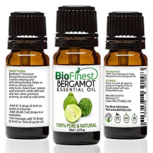BioFinest Bergamot Oil - 100% Pure Bergamot Essential Oil - Premium Organic - Therapeutic Grade - Best For Aromatherapy - Relieve Cold - Reduce Headache - FREE Essential Oil Guide (10ml)