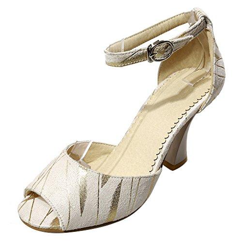 à Cheville Peep Hauts Sandales Toe Talons Chaussures de TAOFFEN Sangle Beige Femmes 8waAxqT