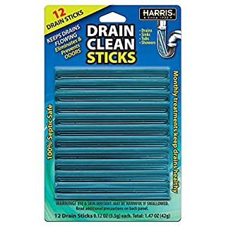 Harris Drain Clean Sticks, Drain Clog Remover and Odor Eliminator for Sinks, Tubs and Showers, 12 Pack