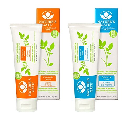 Nature's Gate All Natural Creme de Peppermint and Creme de Anise Toothpaste, Flouride and Artifical Sweetener Free With Peppermint Essential Oil and Baking Soda For Fresh Breath, 6 oz. each
