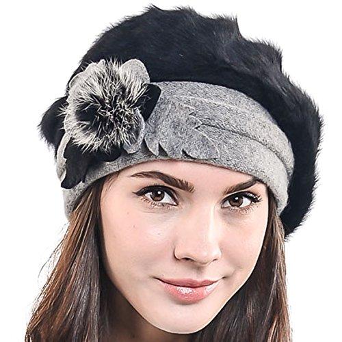 F&N STORY Women's Elegant Flower Wool Cloche Bucket Ridgy Bowler Hat 09-co20 (Angora Beret-Black)
