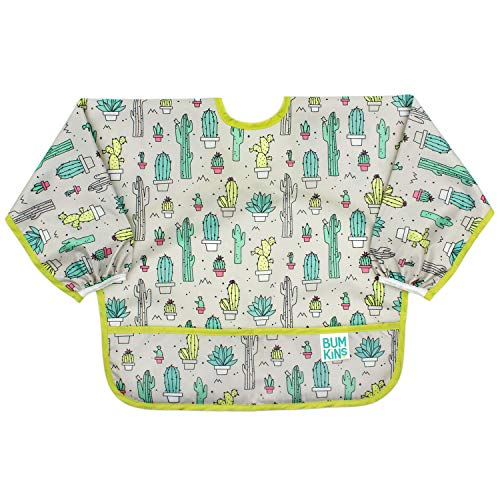 Bumkins  Sleeved Bib / Baby Bib / Toddler Bib / Smock, Waterproof, Washable, Stain and Odor Resistant, 6-24 Months  - Cactus from Bumkins