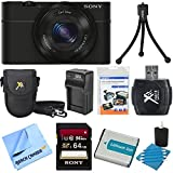 Sony DSC-RX100 20.2 MP Exmor CMOS Sensor Digital Camera with 3.6x Zoom BUNDLE with Sony 32GB High Speed Class 10 SD Card (SF32UY/TQMN), Spare Battery, Deluxe Case, Card Reader, Mini Tripod, LCD Screen protectors and MORE!