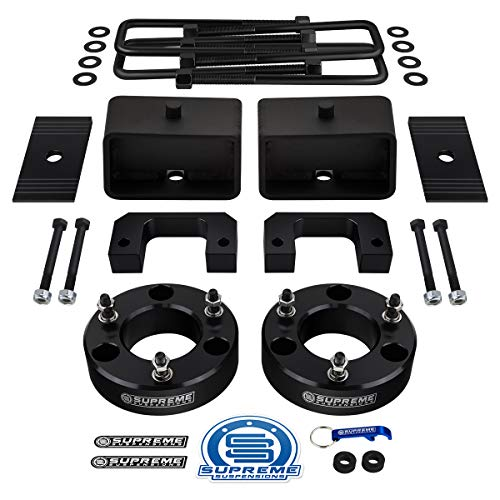 "Supreme Suspensions - Full Lift Kit for 2007-2019 Silverado Sierra 1500 3.5"" Front Lift Strut Spacers + 3"" Rear Lift Blocks + Square Bend U-Bolts + Axle Alignment Shims"