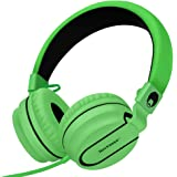 Rockpapa 950 Stereo Lightweight Foldable Headphones Adjustable Headband with Microphone 3.5mm for Cellphones Smartphones iPhone Tablets Laptop Computer Mp3/4 DVD Black Green