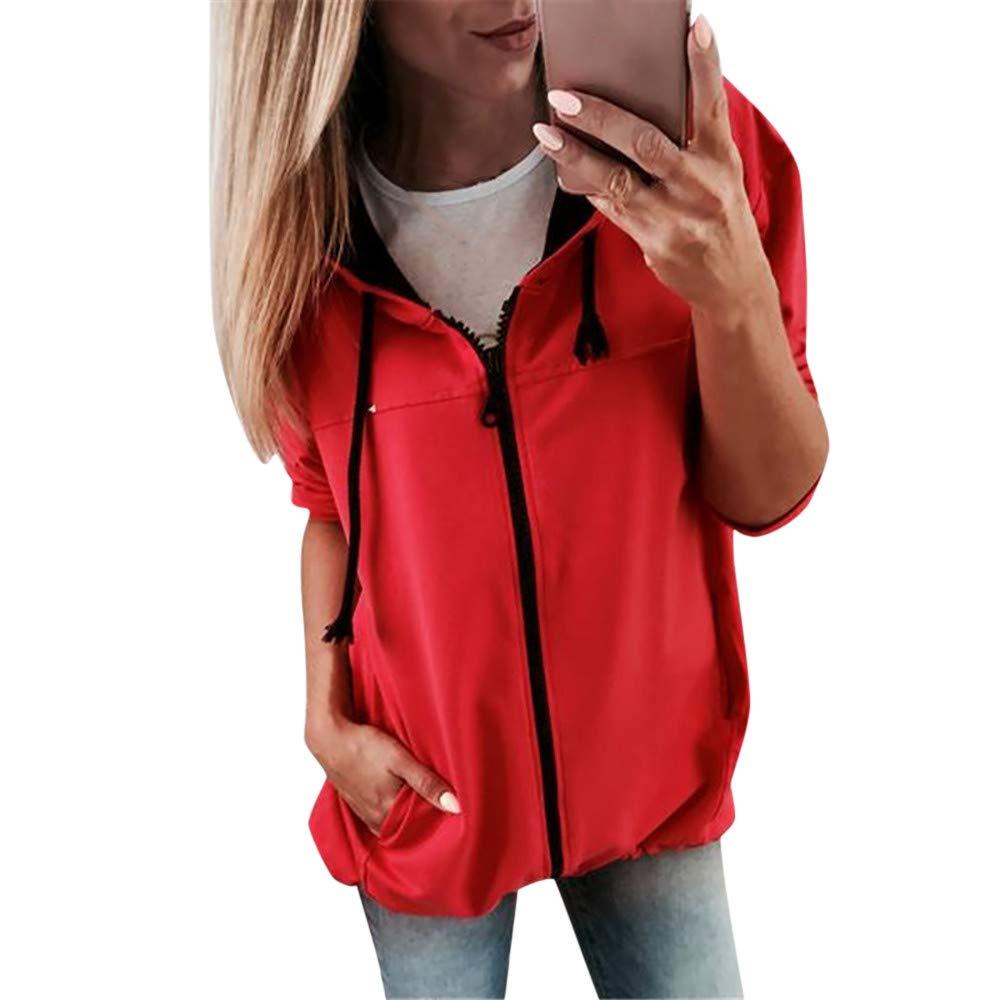 FEITONG Fashion Womens Long Sleeve Zipper Hooded Sweatshirt Coat Outwear(L,Red)