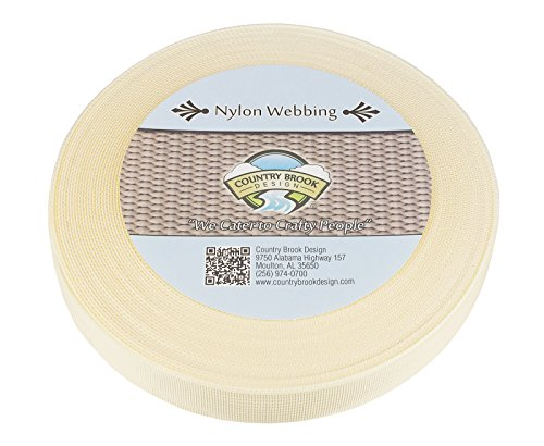 Country Brook Design1 Inch Off White Lite Weight Nylon Webbing, 10 Yards