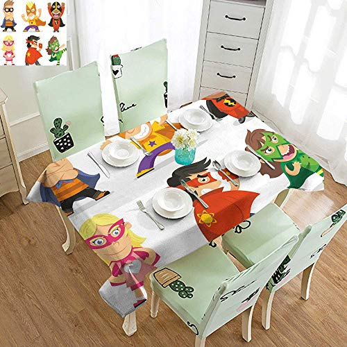 DILITECK Elegance Engineered Tablecloth Superhero Children Dressed as Superheroes Kids Playroom Girls Boys Nursery Babyish Picture Indoor Outdoor Camping Picnic W60 xL84 Multicolor