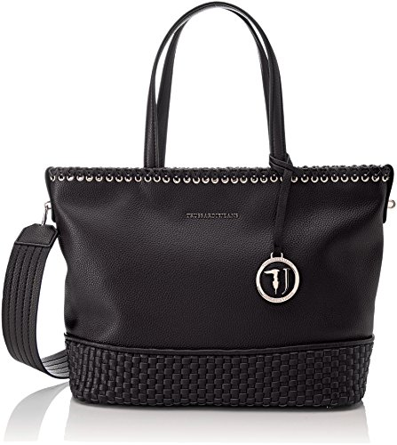 Women's Trussardi Ecoleather Black Tote Smooth Mimosa Jeans Bag 4w7HB5qw
