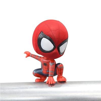 KLTOYS Spider-Man Toys Figure, Magnet Base, Car Hanging, Bobbleheads (Squat): Toys & Games