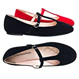 City Classified Laura D-Black Ballet T-Strap Mary-Jane Flats. Women's Ballerina Round Toe Comfort Flats -7.5