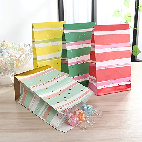 Paper Goody Treat Bags 40 Pcs Metallic Foil Prints Water Color Style Design Kid Party Candy Snack Gift Favor Cookie Bags Flat Bottom Perfect for Bridal Baby Showers Parties 9.8x5.1x3Inch by BllalaLab