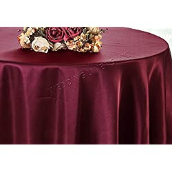 "Wedding Linens Inc. 120"" Round Heavy Duty Seamless Satin tablecloths Table Cover Linens for Restaurant Kitchen Dining Wedding Party Banquet Events - Burgundy"